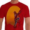 Camiseta - Escalada - Sol no Fundo Escalando Alta Montanha - vermelha