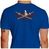 Camiseta - Aikido - O-Sensei Morihei Ueshiba entre Duas Espadas Bushi Estrelas Kanji Costas Azul